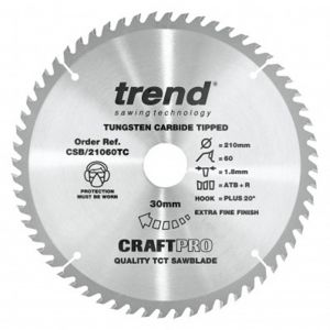 Trend Craft Pro 210mm Dia 30mm Bore 60 tooth Fine Finish Cut Saw Blade