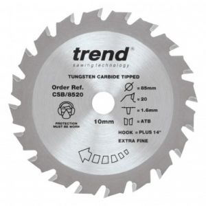 Trend Craft Pro 85mm dia 10mm bore 20 tooth extra fine finish cut saw blade