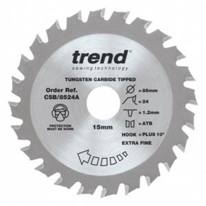 Trend Craft Pro 85mm dia 15mm bore 24 tooth extra fine finish cut saw blade