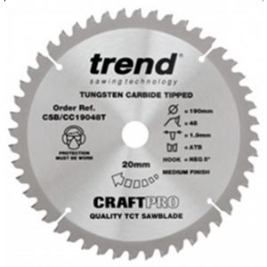 Trend 190mm dia 20mm Bore ATB Z=48 Negative Crosscut Saw Blade CSB/CC19048T