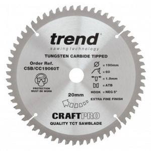 Trend Craft Pro 190mm dia 20mm bore 60 tooth crosscut saw blade(Thin)