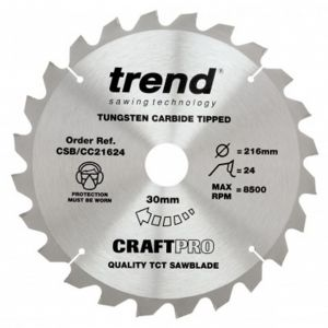 Trend Craft Pro 216mm dia 30mm bore 24 tooth crosscut saw blade