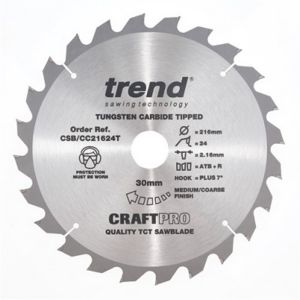 Trend Craft Pro 216mm dia 30mm bore 24 tooth crosscut saw blade(Thin)