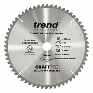 Trend 305mm dia 30mm Bore ATB Z=60 Neg Crosscut Saw Blade CSB/CC30560
