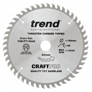 Trend Craft Pro 165mm Dia 20mm Bore 48 tooth Super Fine Finish Plunge/Panel Saw Blade