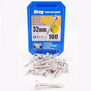 100 Stainless Steel SCREWS 1 1/4 Inch KREG 32mm Fine Thread Washer Heads SML-F125