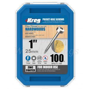 100 SCREWS 1 Inch KREG 25mm Fine Thread Pan Heads SPS-F1