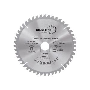Trend 184mm dia 16mm Bore ATB Z=60 Negative Crosscut Saw Blade CSB/CC18460T