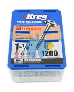 1200 Kreg screws 32mm (1inch 1/4) Coarse Thread Washer Head SML-C125